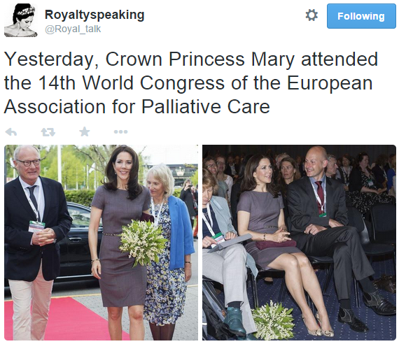 Crown Princess Mary attends world conference on palliative care
