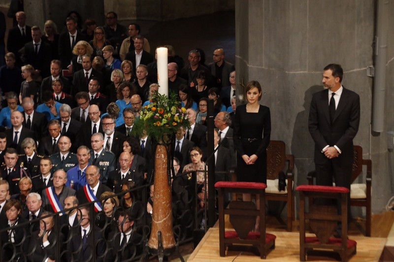 Felipe and Letizia at memorial service