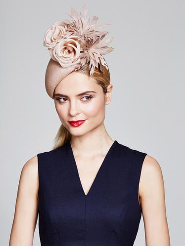 Juliette Botterill Silk Feather Flower Teardop hat