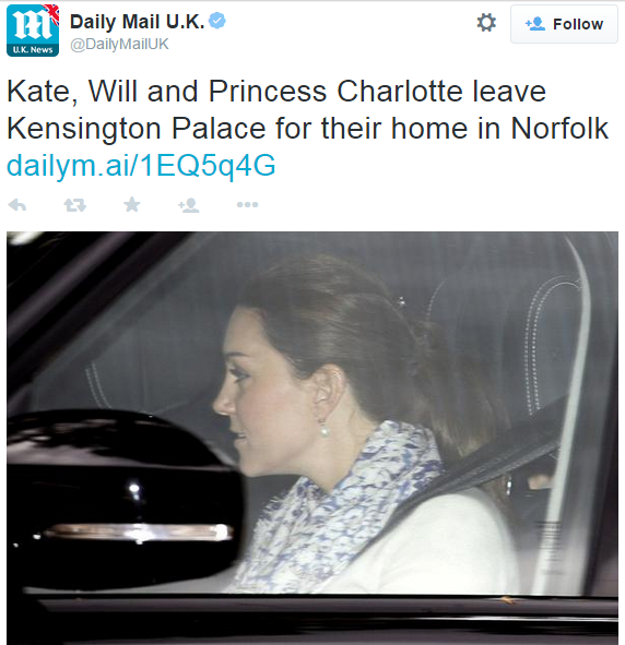 Kate leaves for Anmer