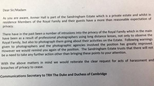 Kensington Palace warning letter to media