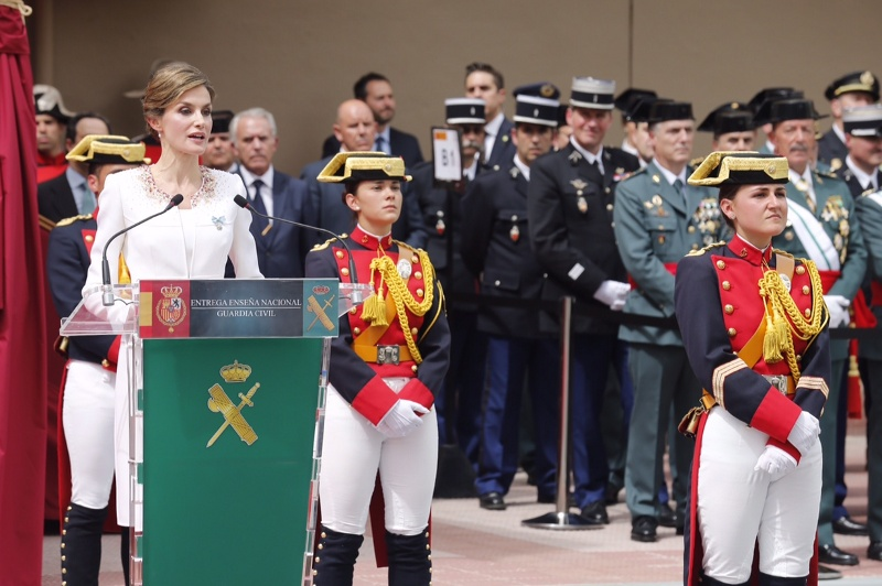 Letizia gives speech at flag ceremony