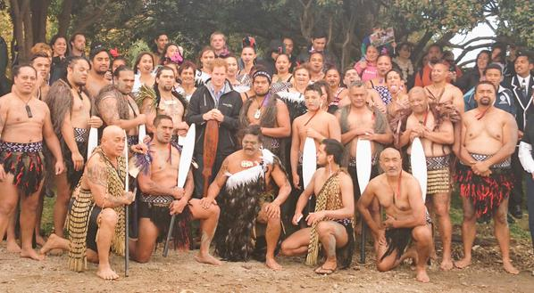 Prince Harry with people from Putiki Marae
