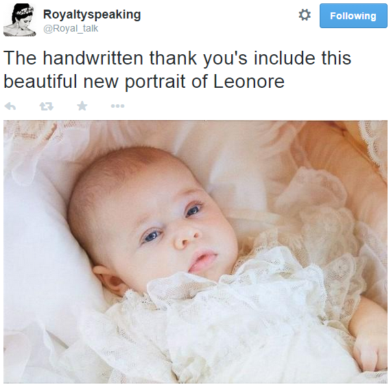 Princess Leonore baptism thank you card