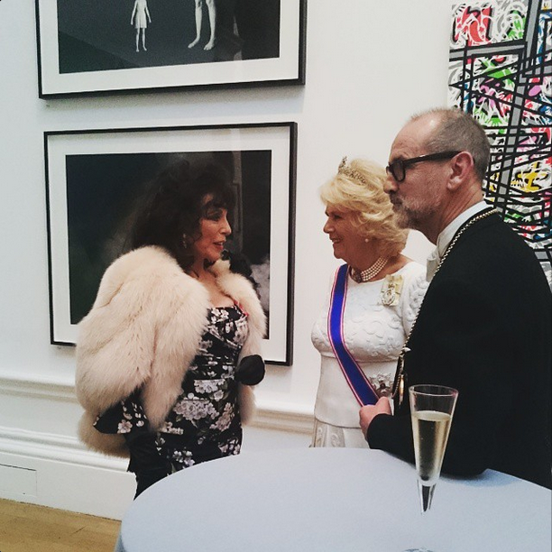 Camilla meets Joan Collins at Royal Acedemy of Arts