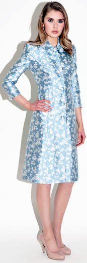 Catherine Walker Astrid ivory and ice blue floral coatdress