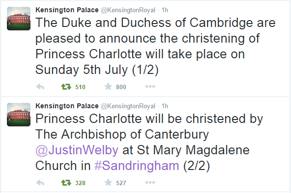 Kensington Palace Princess Charlotte Christening announcement