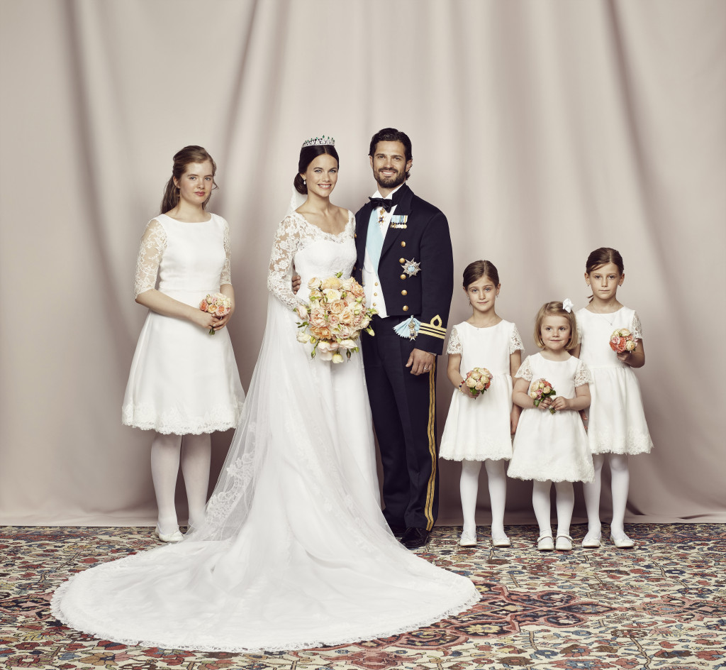 Prince Carl Philip and Princess Sofia with the bridesmaids