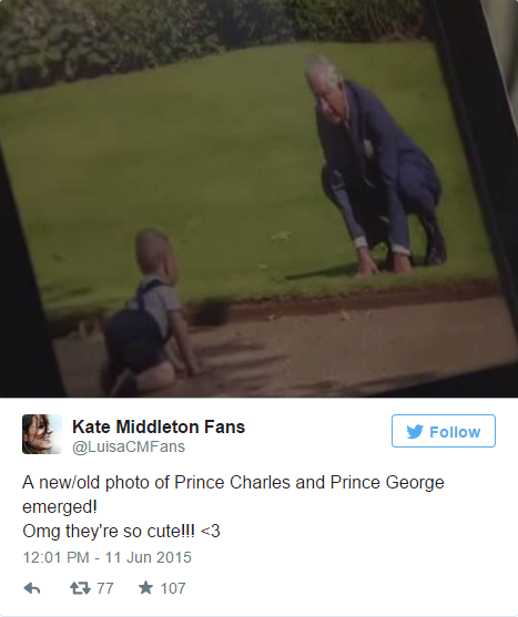 Prince Charles playing with Prince George