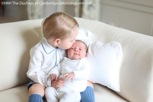 Prince George kissing Princess Charlotte taken by Kate Middleton