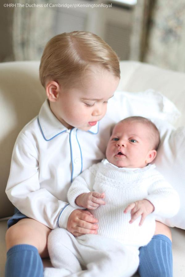 Prince George looking at Princess Charlotte taken by Kate Middleton
