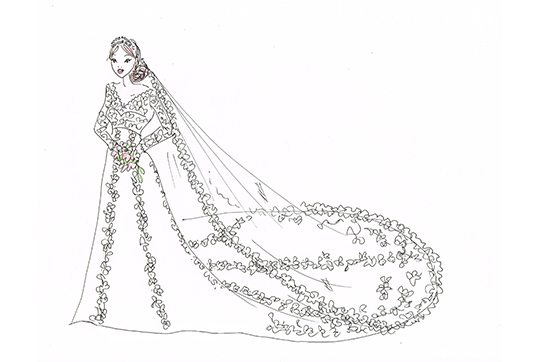 Sofia's dress sketch by Ida Sjöstedt