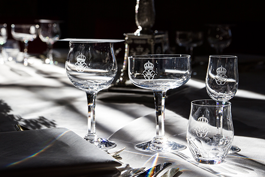 Sweden State Visit from India gala dinner glassware