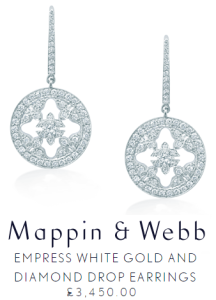 Mappin and Webb Empress White Gold and Diamond Drop earrings