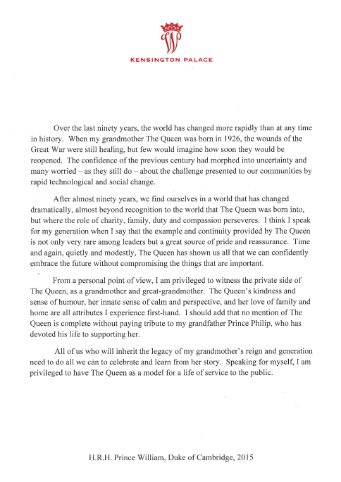 Prince William's preface to Queen biography