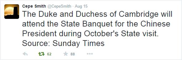 kate attending state banquet tweet