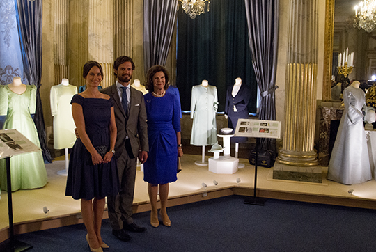 Queen Silvia, Prince Carl Philip, Princess Sofia at The Lilian Look exhibition