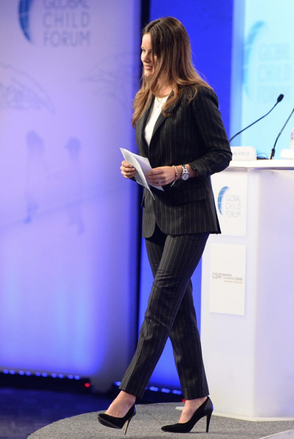 Sofia Hellqvist gives speech at Global Child Forum