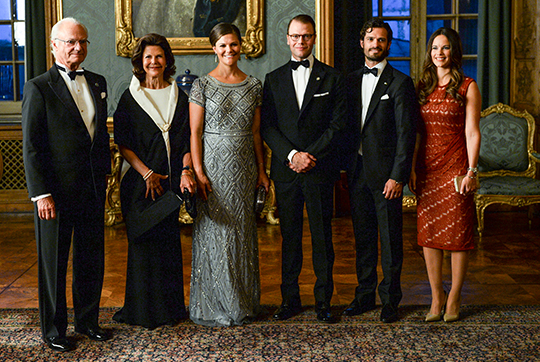 Sweden Dinner King, Queen, Victoria, Daniel, Carl Philip, Sofia