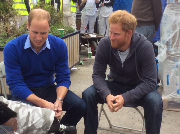 William and Harry at DIY SOS site