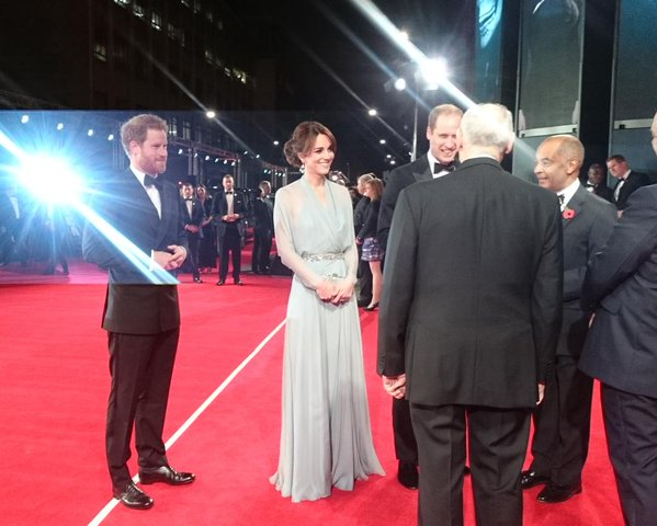 Kate, William, and Harry arrive at Spectre premiere