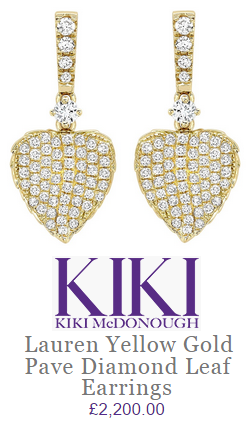 Kiki McDonough Lauren yellow gold pave diamond leaf earrings