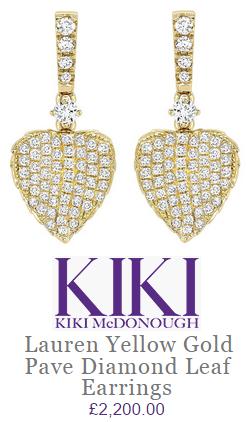 Kiki Mcdonough Lauren Yellow Gold Pave Diamond Leaf Earrings