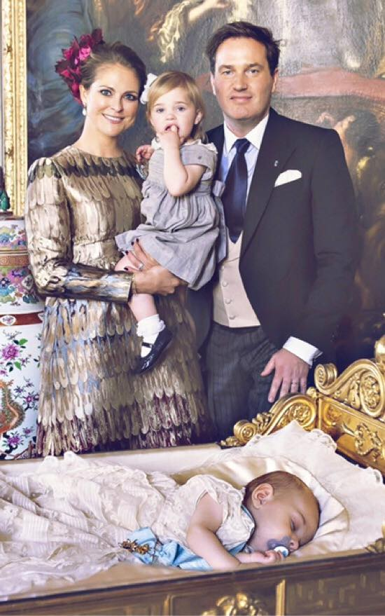 Prince Nicolas' Christening photo with Princess Madeleine, Chris, and Leonore