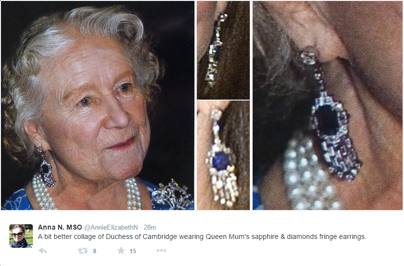 Queen Mother's sapphire & diamonds fringe earrings