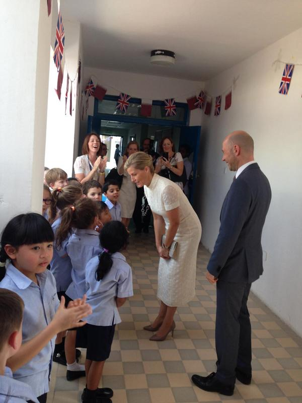 Sophie meets kids at Doha College in Qatar
