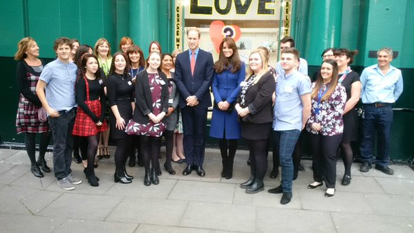 William and Kate pose with young people outside The Corner