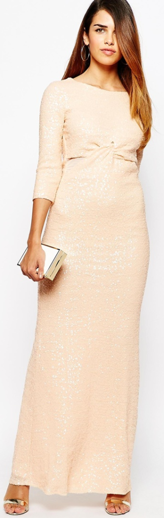 ASOS All Over Sequin Long Sleeve Maxi Dress With Twist Front