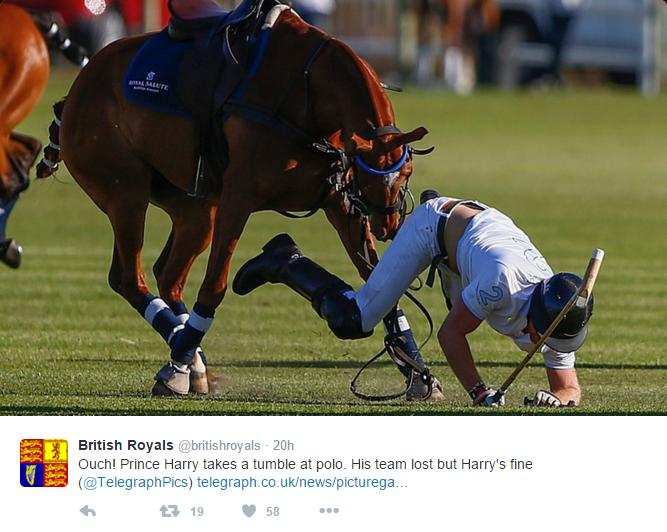 Harry falls off horse