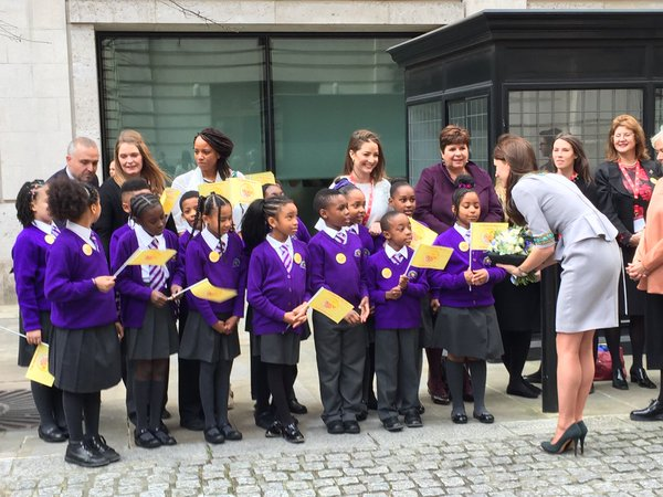 Kate meets schoolchildren outside Place2Be school conference
