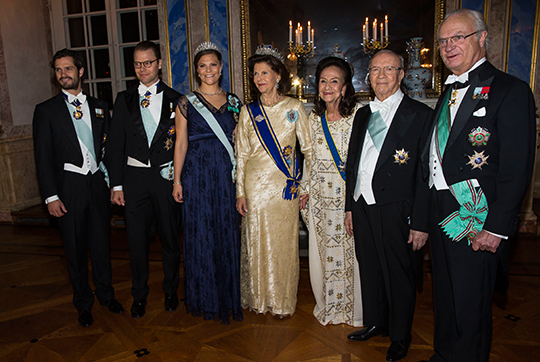 King, Queen, Victoria, Daniel, Carl Philip, President of Tunisia State Banquet