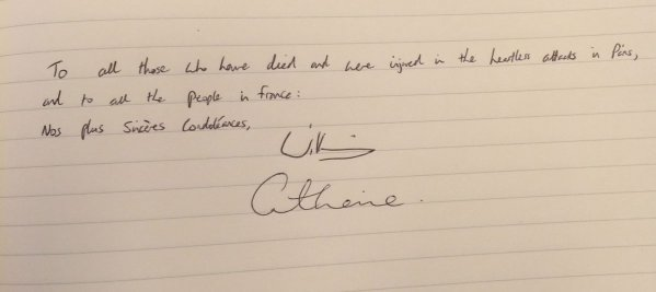 William and Kate signitures condolence book