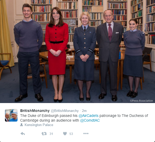 Kate becomes patron of air cadets 1
