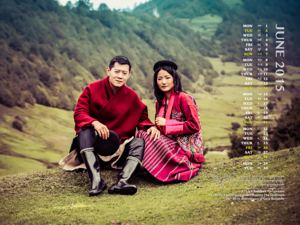 King and Queen of Bhutan June 2015