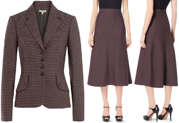 Michael Kors Guncheck Wool Trumpet Skirt and Virgin Wool Plaid Blazer