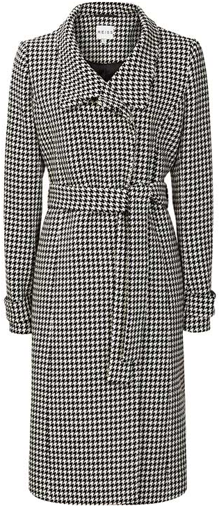 Reiss Rubik Houndstooth Wrap Coat