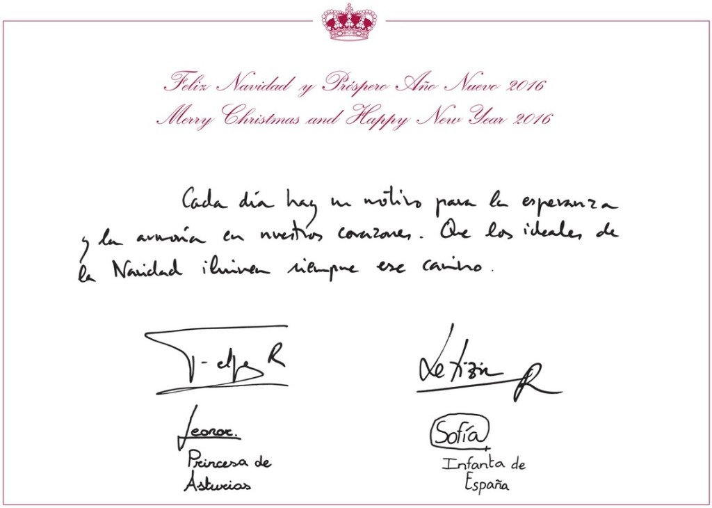 Spanish royal family Christmas card 2015 2