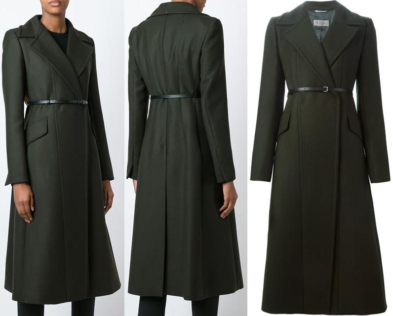 Sportmax green long belted coat
