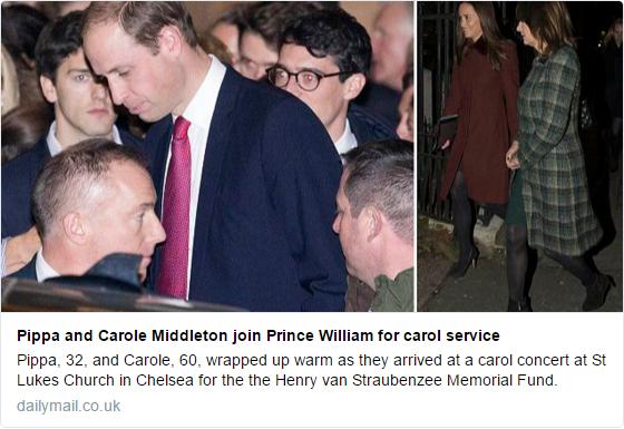 William, Pippa, Carole attend carol concert
