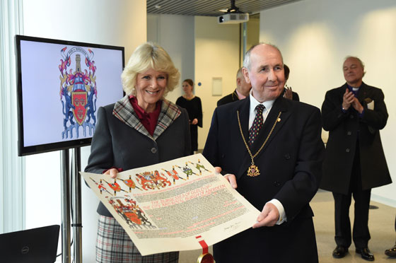 Camilla presents Coat of Arms