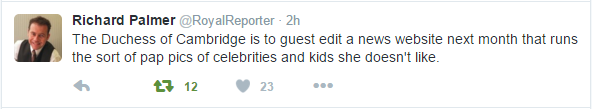 Kate guest editor Richard Palmer tweet