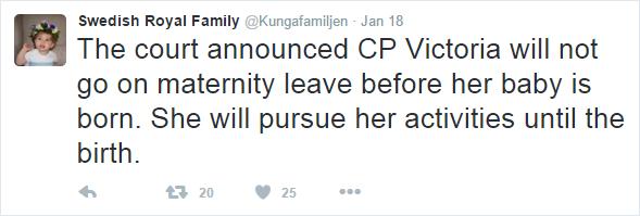 Victoria maternity leave tweet
