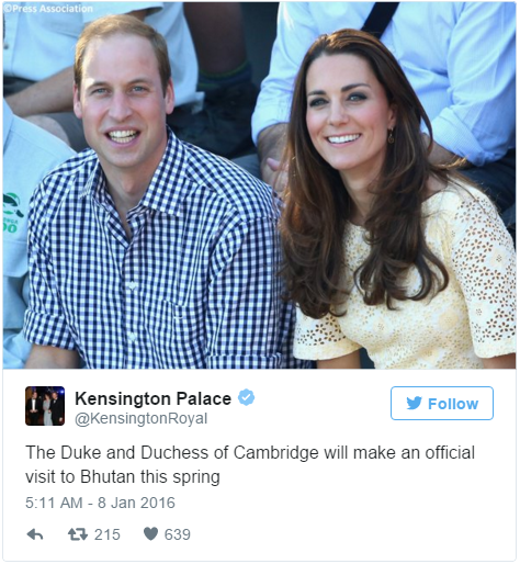 William and Kate to visit Bhutan