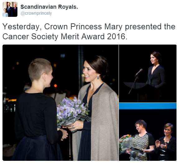 Crown Princess Mary cancer merit society