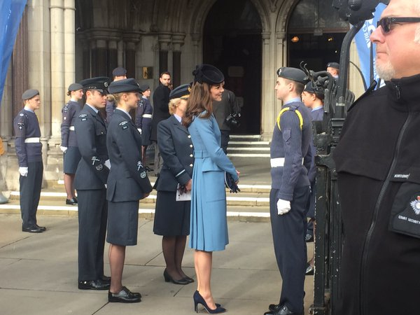 Kate arriving at the Royal Courts of Justice for Air Cadet reception