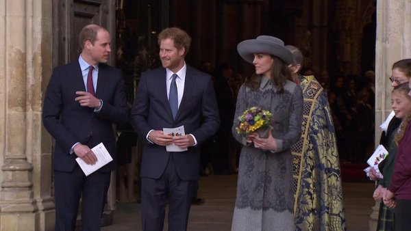 William, Kate, Harry leave Commonwealth Service